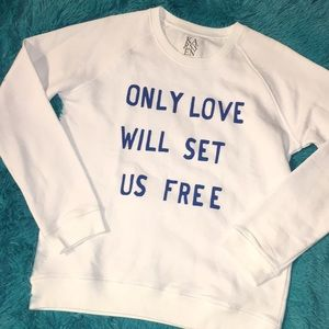 "NEW Zoe Karssen White ""Only Love"" Sweatshirt SZ L"